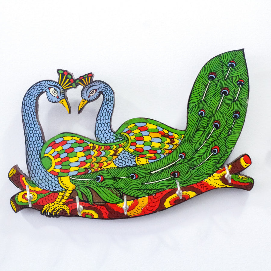 Hand Painted Wood Twin Peacock Key Holder