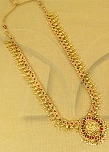 Designer Lakshmi Pendant Temple Jewellery Long Aaram Necklace Haar