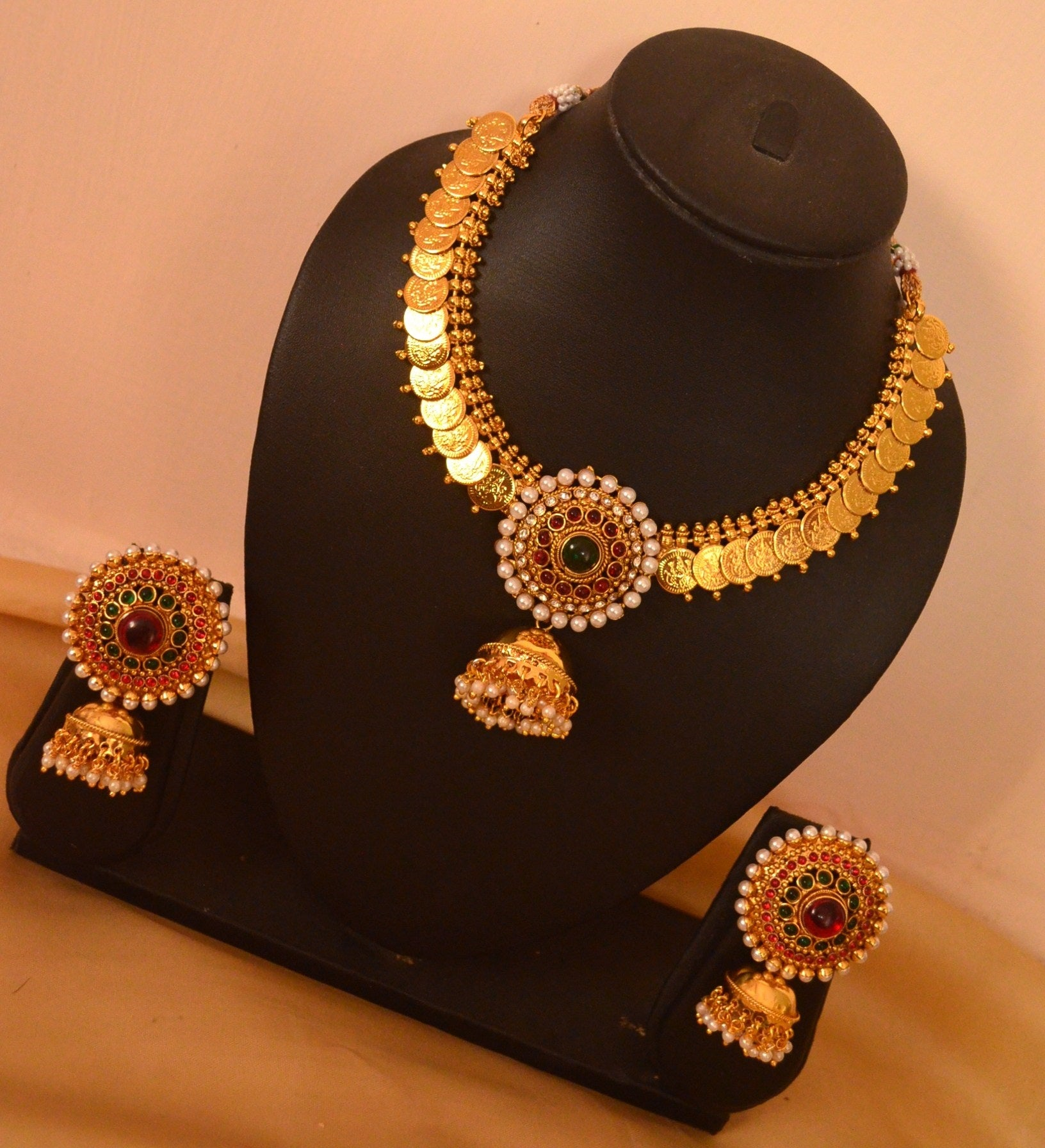 Unique Jhumka Pendant Coin Necklace with Large Pearl Stud Jhumkas