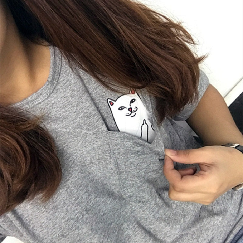 Middle Finger Cat Pocket T-Shirt (1)