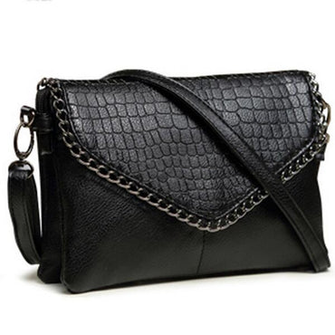 Faux Crocodile Leather Chain Crossbody Bag