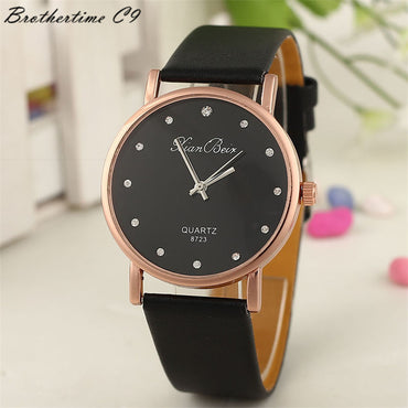 Crystal Dial Leather Watch