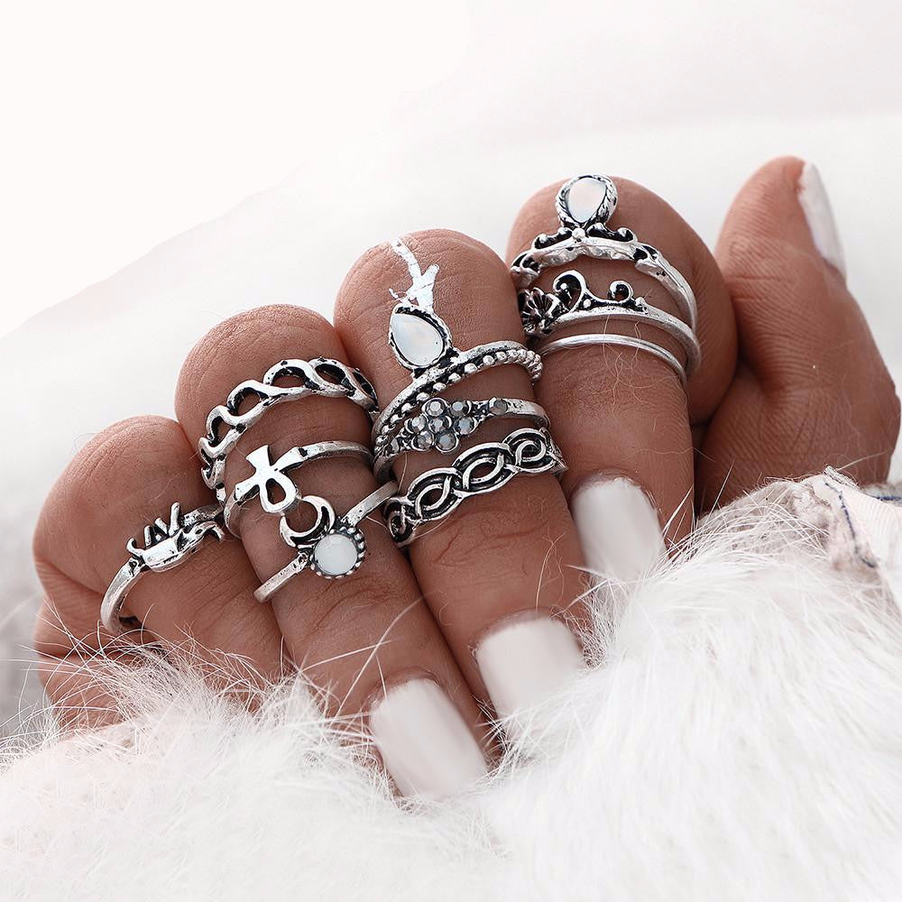 Elephant Moon Retro Boho Ring Set