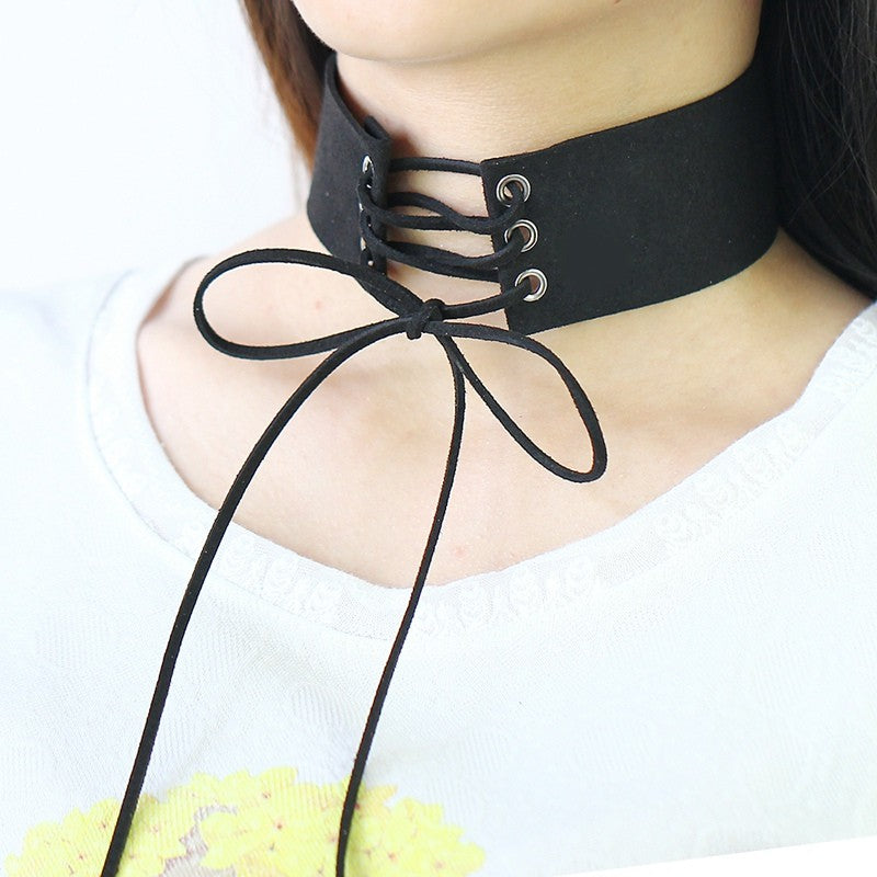 Faux Leather Lace Up Choker Necklace