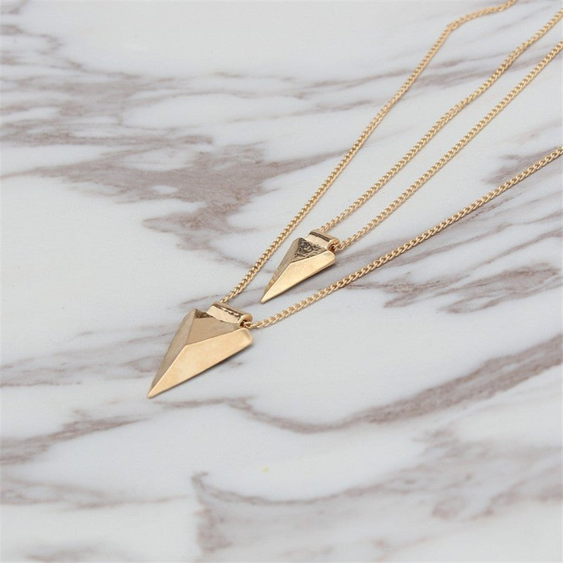 Double Layer Triangle Necklace