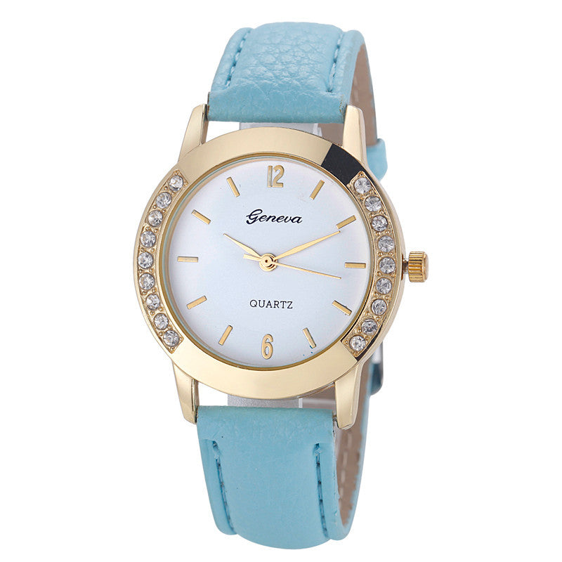 Geneva Crystal Stitched Leather Wrist Watch