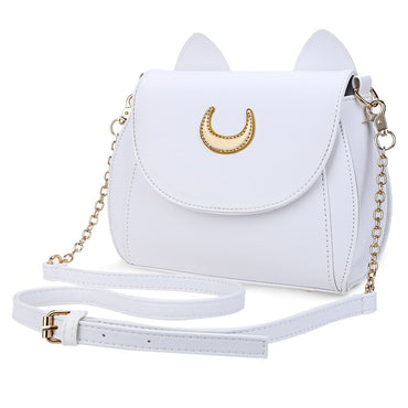 Moon Cat Eared Faux Leather Shoulder Bag