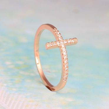 Cross Silver Plated Crystal Pave Ring