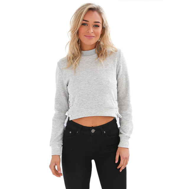 Slit Lace Up Pullover Crewneck