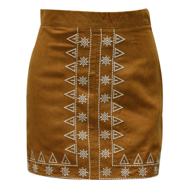Embroidered Suede Leather Skirt