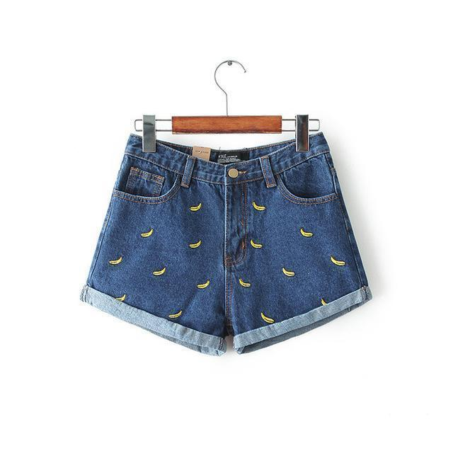Banana Embroidery Denim Shorts