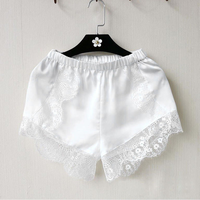 Black/White Lace Silk Shorts