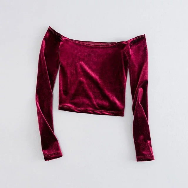 Velvet Off Shoulder Crop Top