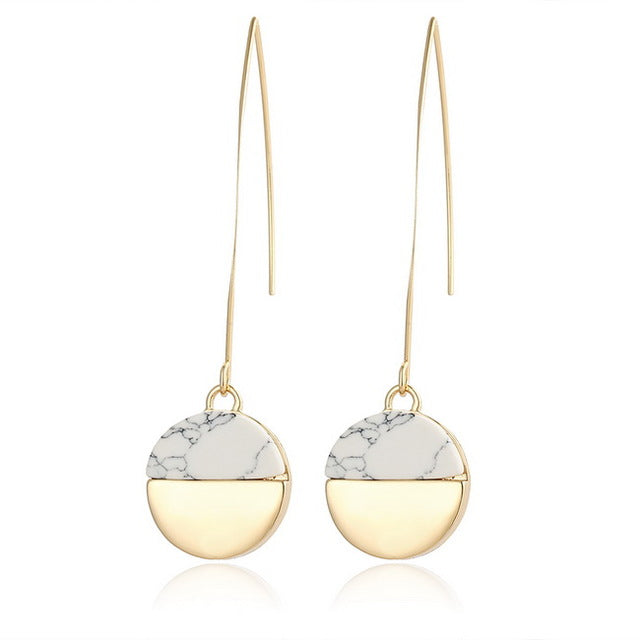 Marble Stone Drop Earrings