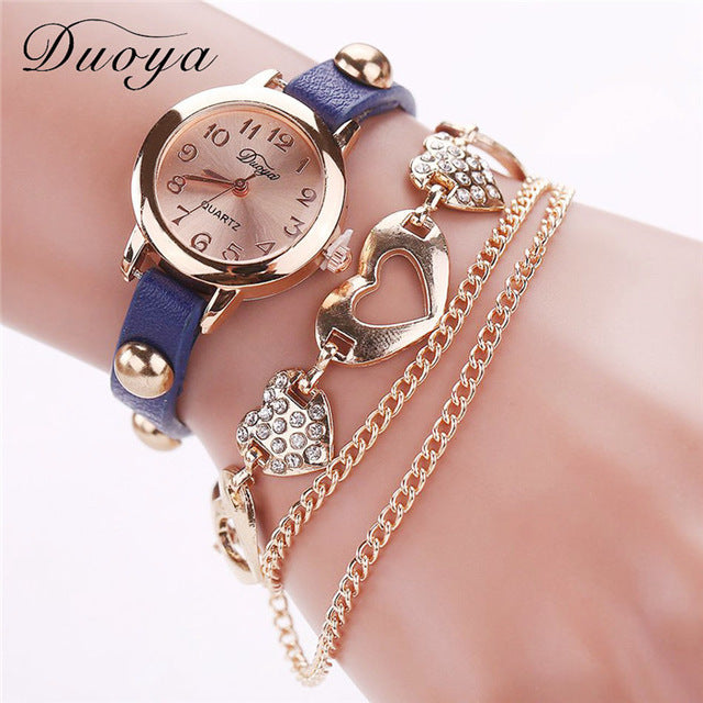 Gold Heart Chain Wristwatch