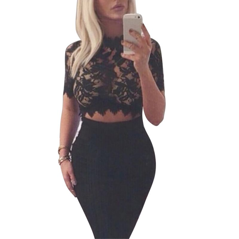 High-Neck Bodycon Crop Top