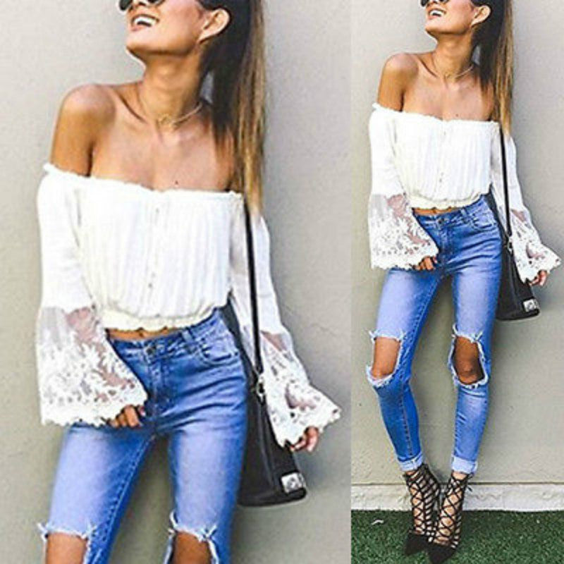 Off Shoulder Boho Crop Top