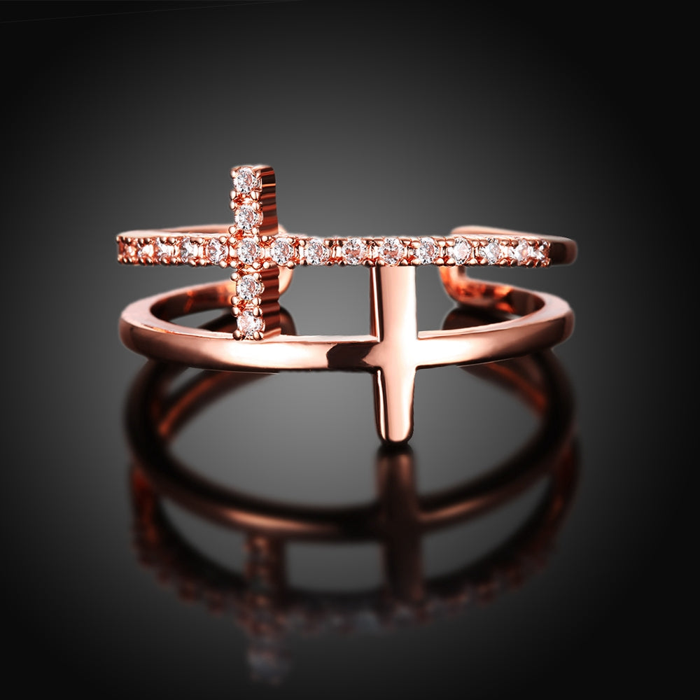 Double Cross Crystal Accented Ring
