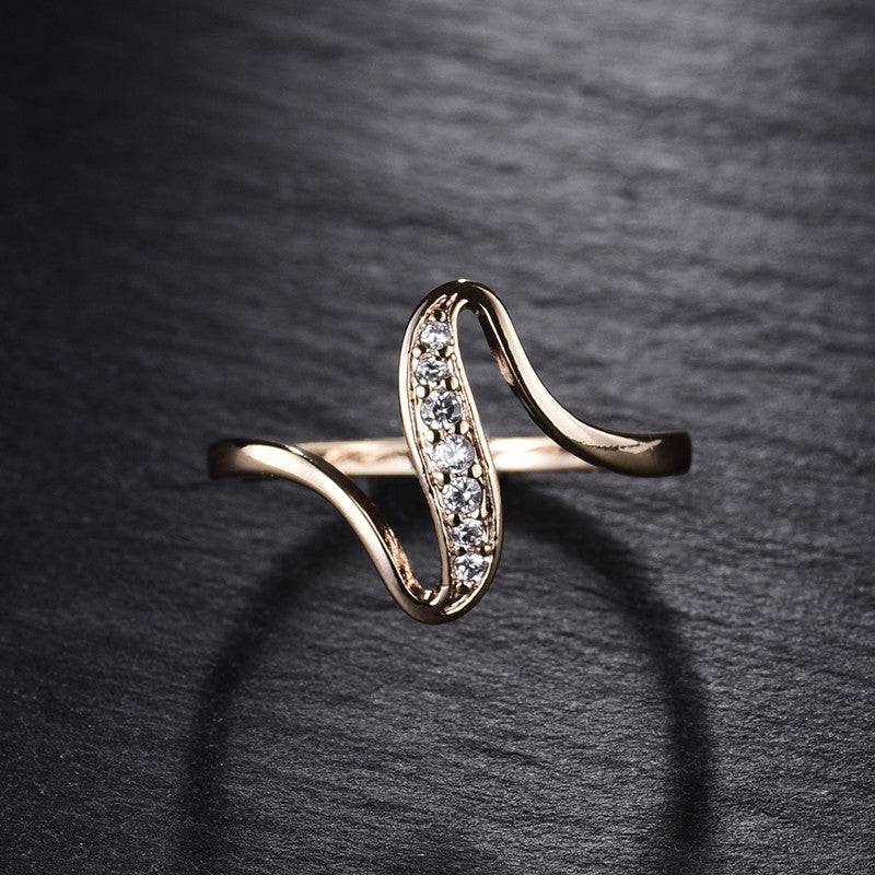 Rose Gold Wave Crystal Ring