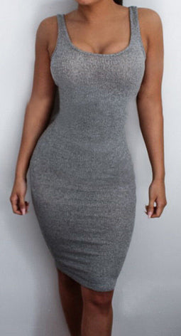 Gray Knee Length Bodycon Dress