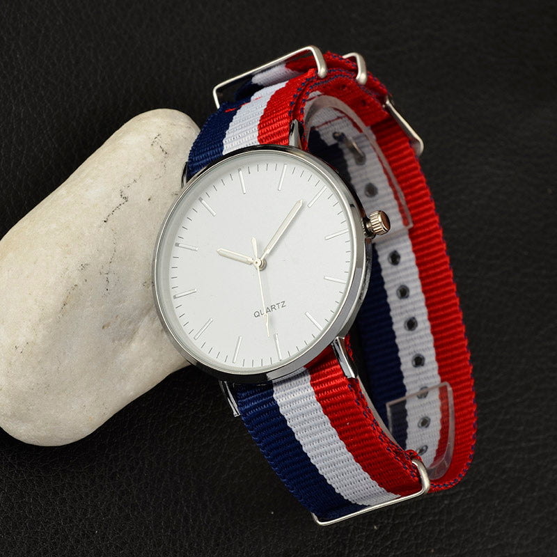 Multicolor Minimal Nylon Strap Watch