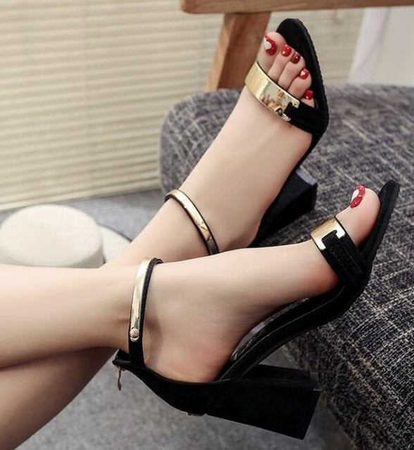 High Heel Gold Bar Wedge Shoes