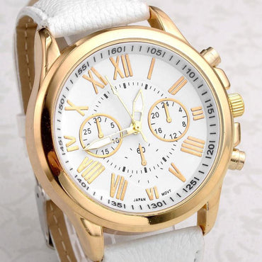 Gold Roman Numeral Leather Chrono Watch