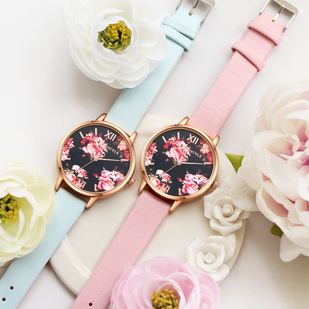 Floral Leather Watch
