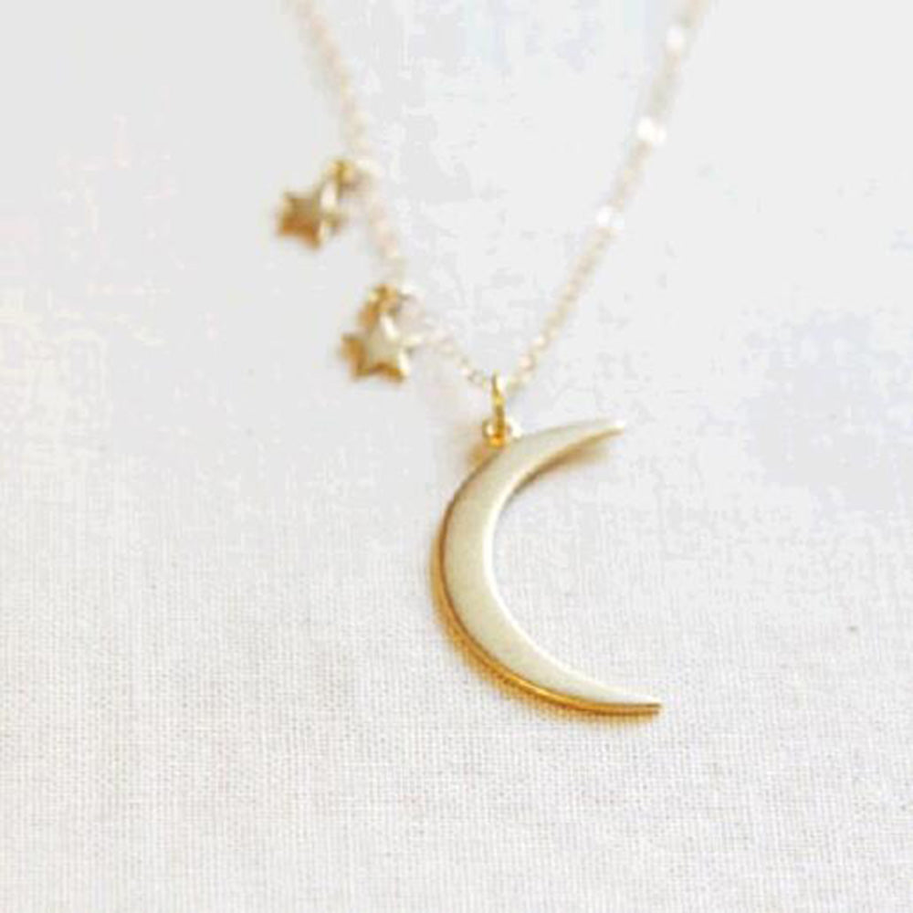 Stars Moon Pendant Necklace