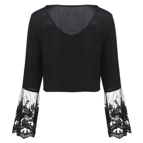 Flare Sleeve Boho White Lace Blouse