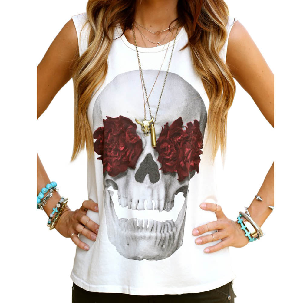 Sleeveless Rose Skull Top