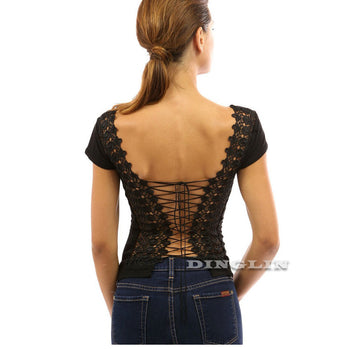 Backless Lace Up Short Sleeve Top