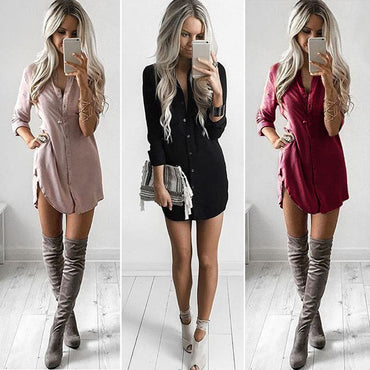 Long Sleeve Loose Blouse Dress