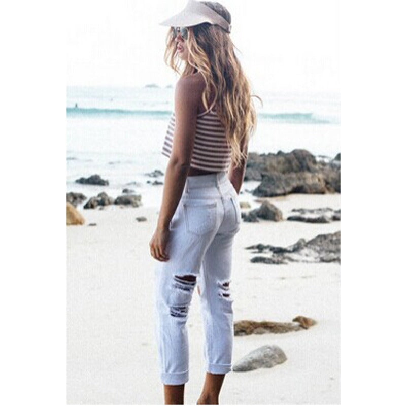 High Waist White Distressed Jeans