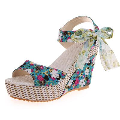 Open Toe Platform Wedge Shoes