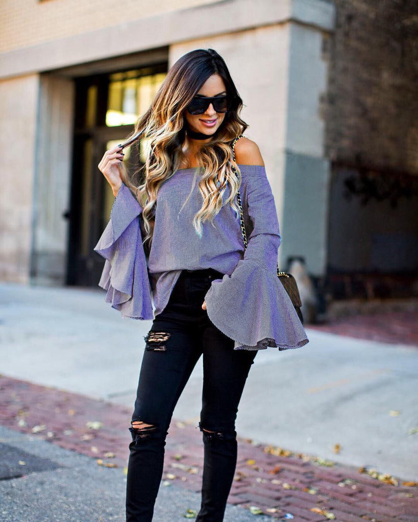 Off Shoulder Loose Flare Sleeve Blouse