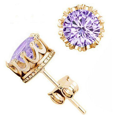 18K Gold Plated Pink CZ Crystal Stud Crown Earrings