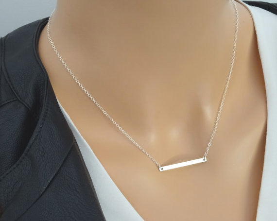 Minimilist Silver-tone Layered Bar Necklace
