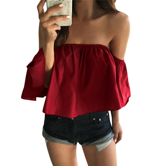 Off Shoulder Ruffled Blouse