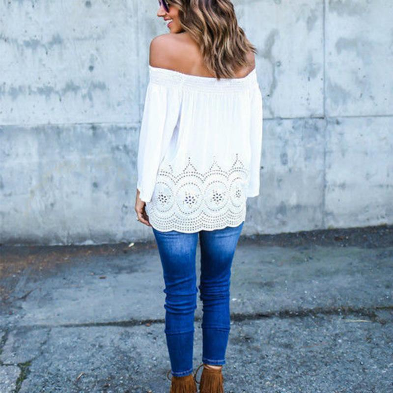 Long Off Sleeve Lace Blouse