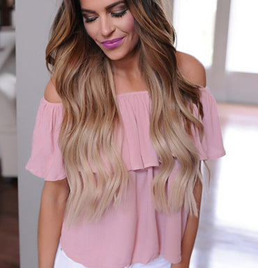 Loose Ruffle Off Shoulder Blouse