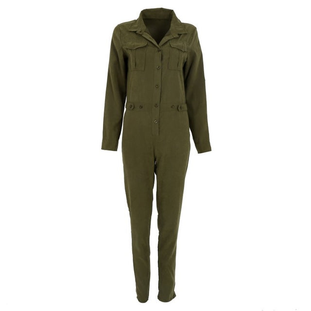 Bodycon Long-Sleeved Army Green Jumpsuit