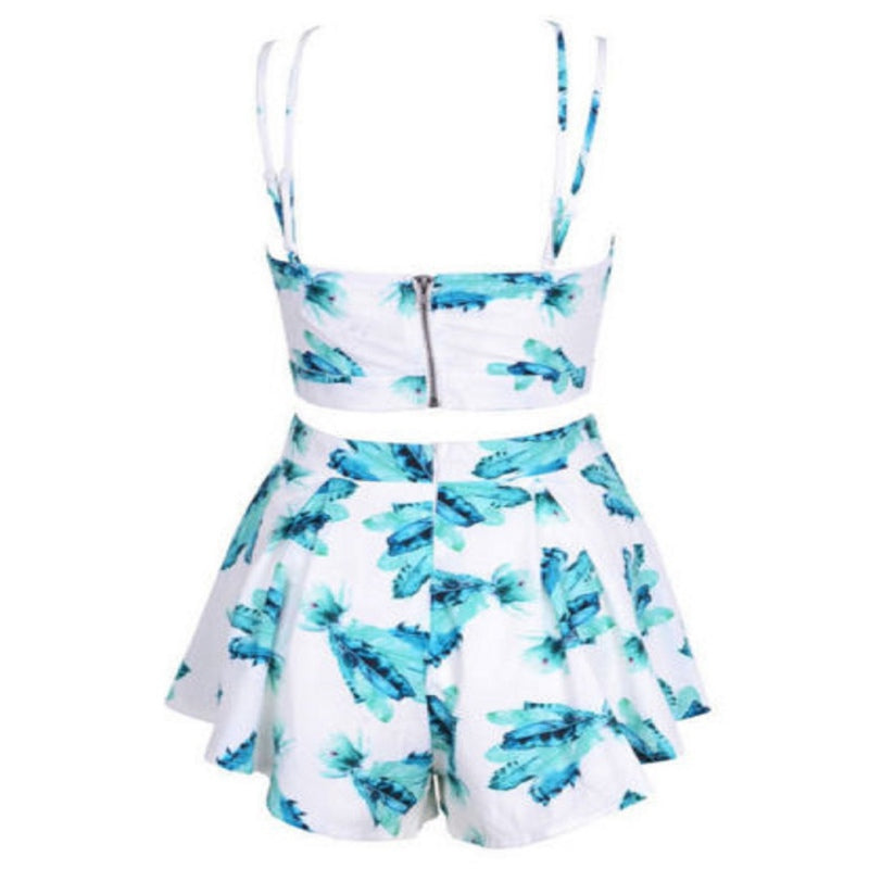 Two Piece Flower Crop Top Set