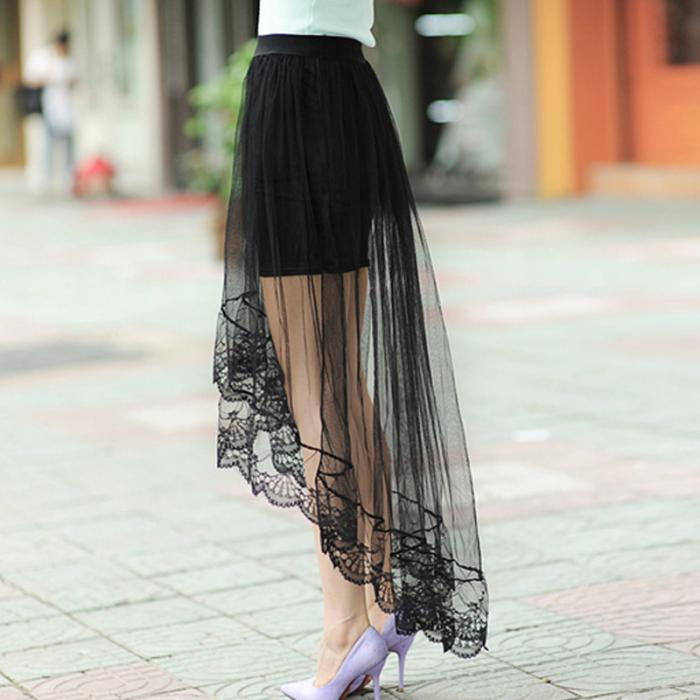 Elegant Sheer Overlay Skirt