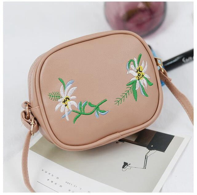 Floral Embroidery Crossbody Bag