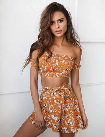 Bohemian Floral Two Piece Crop Top Set