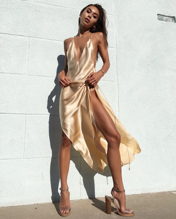 Gold Satin Split Blackless Dress