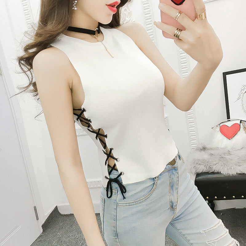 Slim Knitted Side Up Crop Top