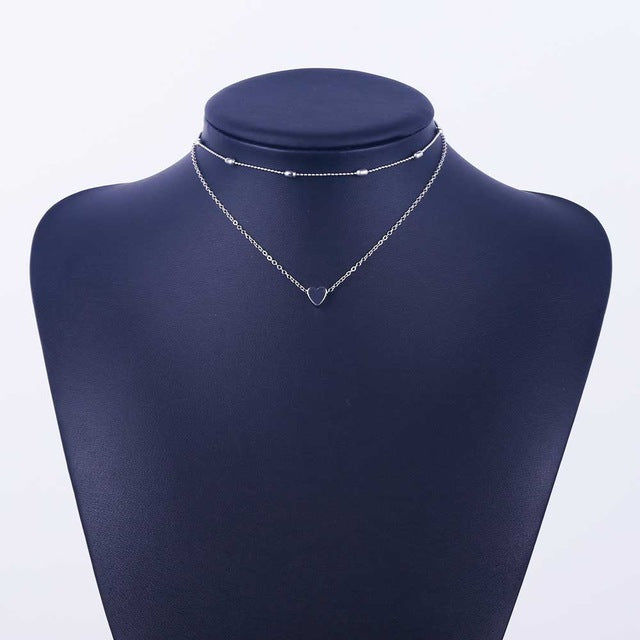 Heart Pendant Multilayer Necklace (3)