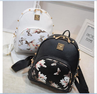 Flowery Butterfly Print Faux Backpack